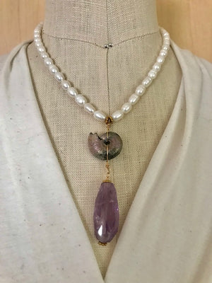 Pearl, fossil and amethyst pendant necklace