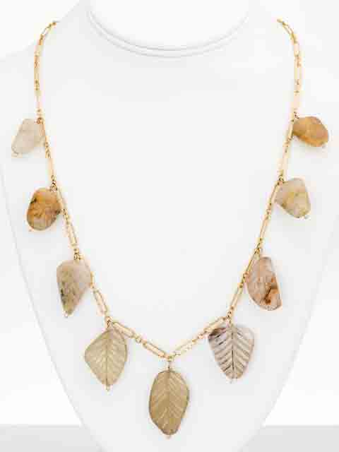 Etched leaves of quartz necklace