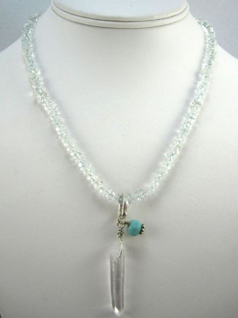 Blue quartz with crystal pendant necklace