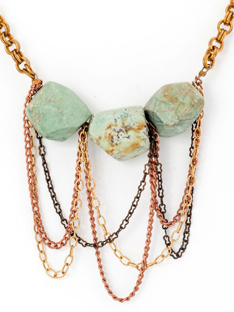 Turquoise nugget draped chain necklace