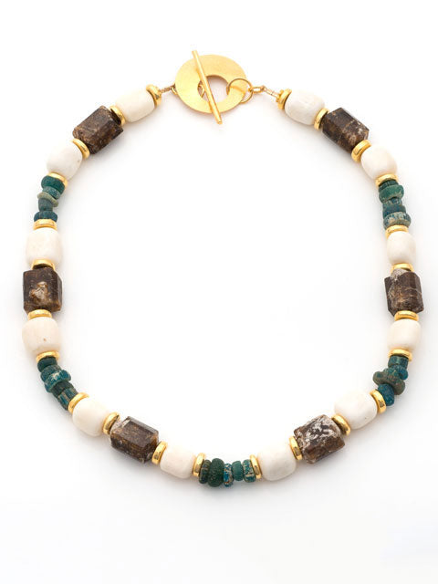 Brown tourmaline, bone and turquoise glass necklace