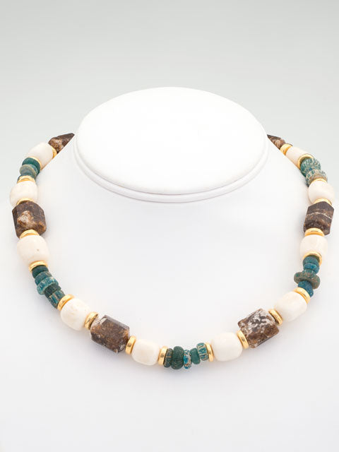 Brown tourmaline and bone with turquoise glass necklace