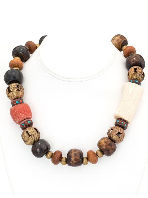 Bone, brass, coral and horn necklace