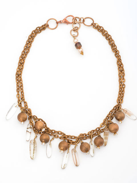 Copper chains and beads with crystal dangles necklace