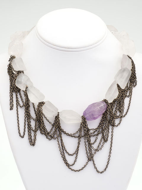 Frosted quartz and amethyst chained necklace
