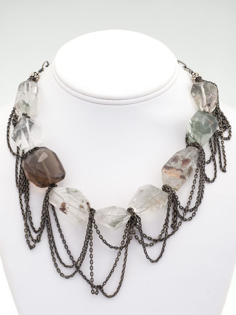 Clear and smoky quartz chained necklace
