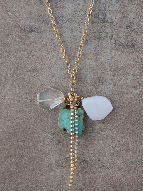 Wired turquoise, chalcedony and quartz gemstone necklace
