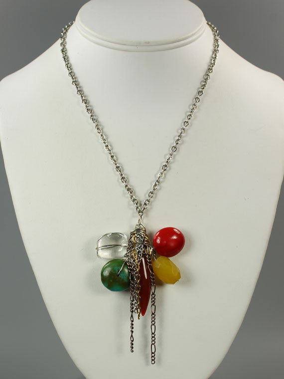 Five gemstone wire wrapped pendant necklace