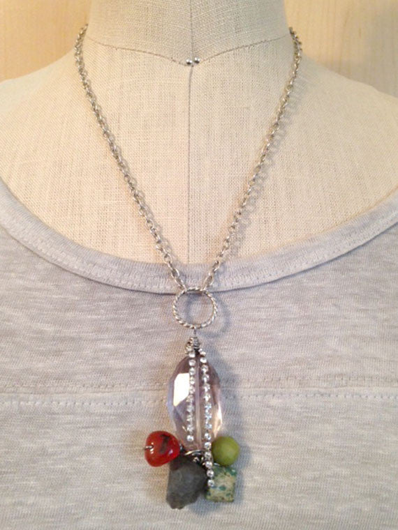 Five gemstone wired wrapped pendant necklace