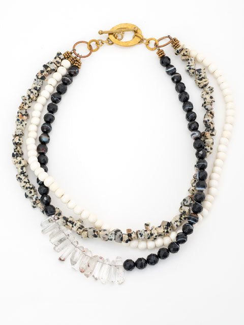 Spotted jasper, black agate, and bone necklace