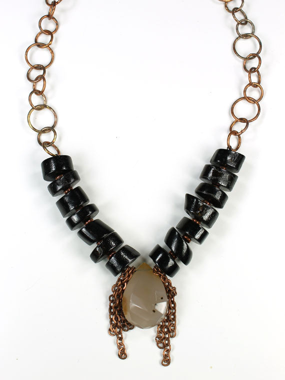 Black coral, carnelian and copper chain necklace