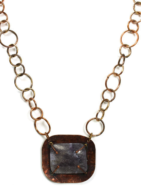Copper square pendant necklace