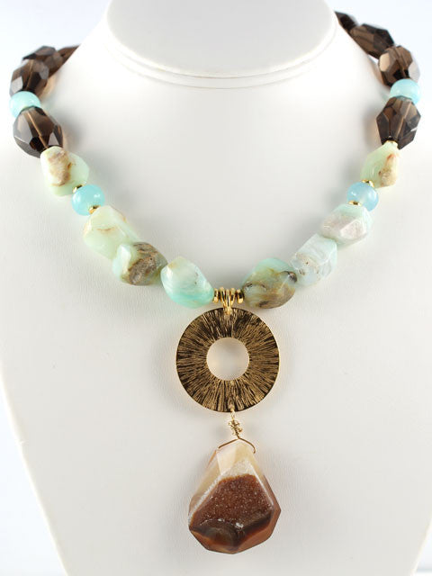 Blue opal, smoky quartz and druzy pendant necklace