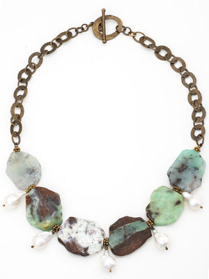 Chrysoprase and pearl drop necklace