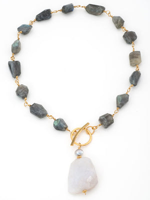 Labradorite and blue chalcedony pendant necklace