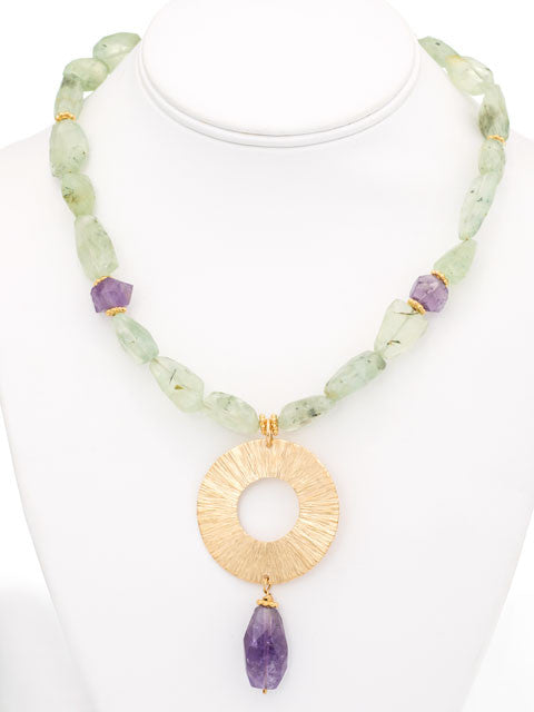 Speckled green prehnite and amethyst pendant necklace