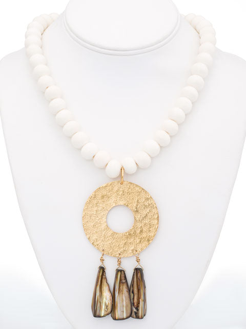 N229 Bone and mother of pearl pendant necklace