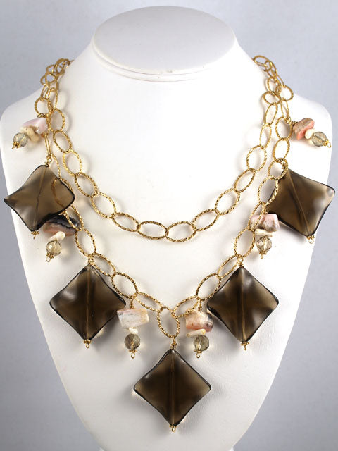 Smoky quartz double chain necklace