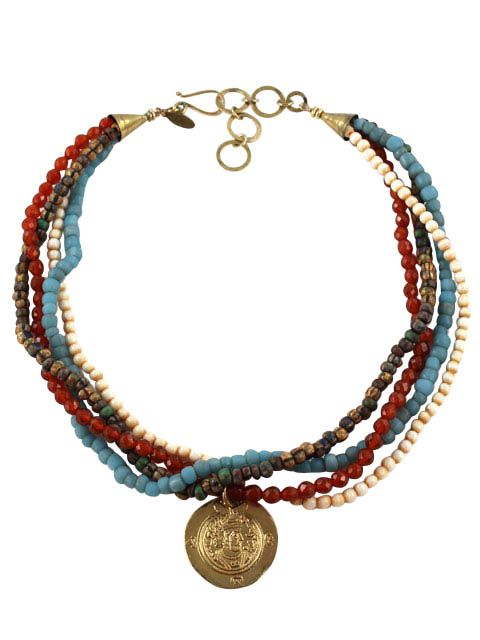 Multi strand with brass coin pendant
