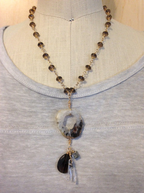 Druzy and smoky quartz chain pendant necklace