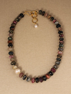 Tourmaline rondels with pearl accent necklace