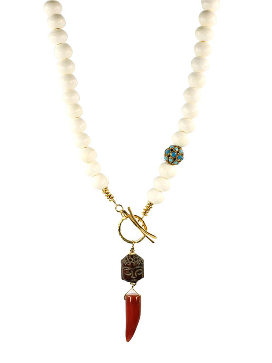 Bone and carnelian front toggle pendant necklace