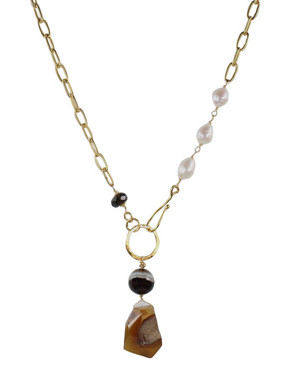 Baroque pearl and chain druzy pendant