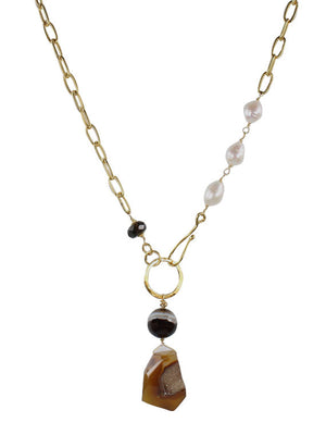 Baroque pearl and druzy pendant necklace