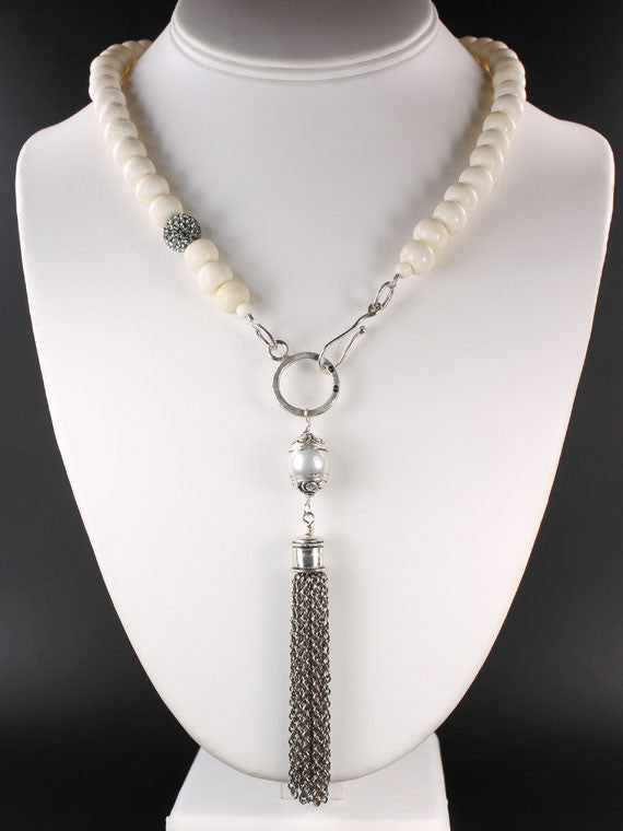 Bone silver tassel necklace