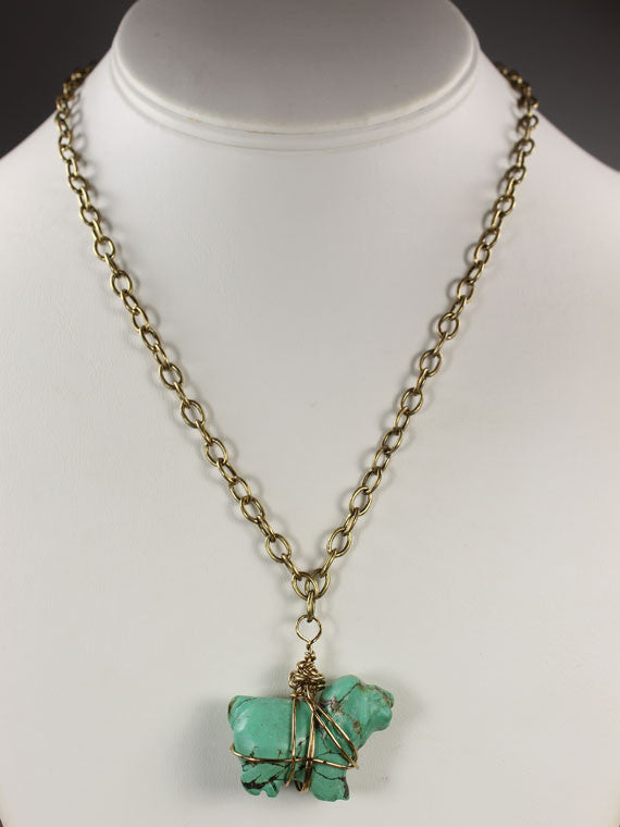 Turquoise wire wrapped dog chain necklace