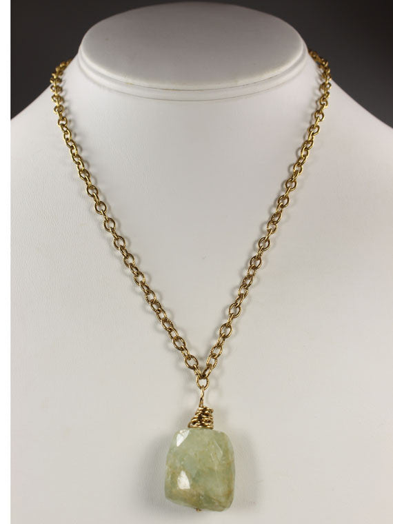 Aquamarine nugget on a chain necklace