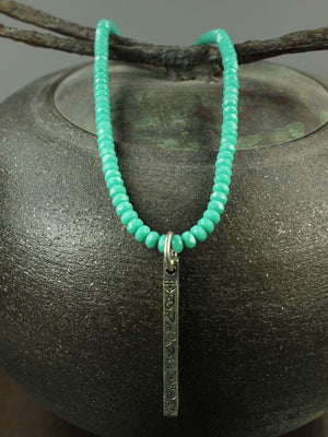Turquoise crystal stick pendant necklace