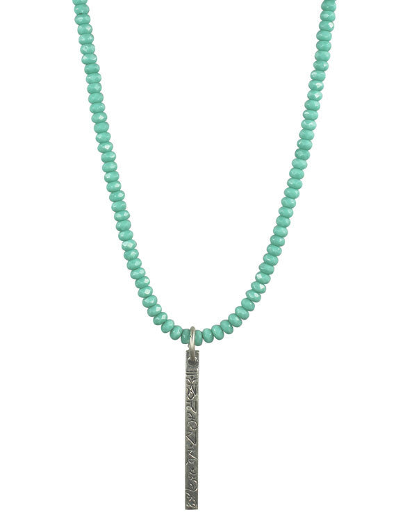 Turquoise crystal silver stick pendant necklace