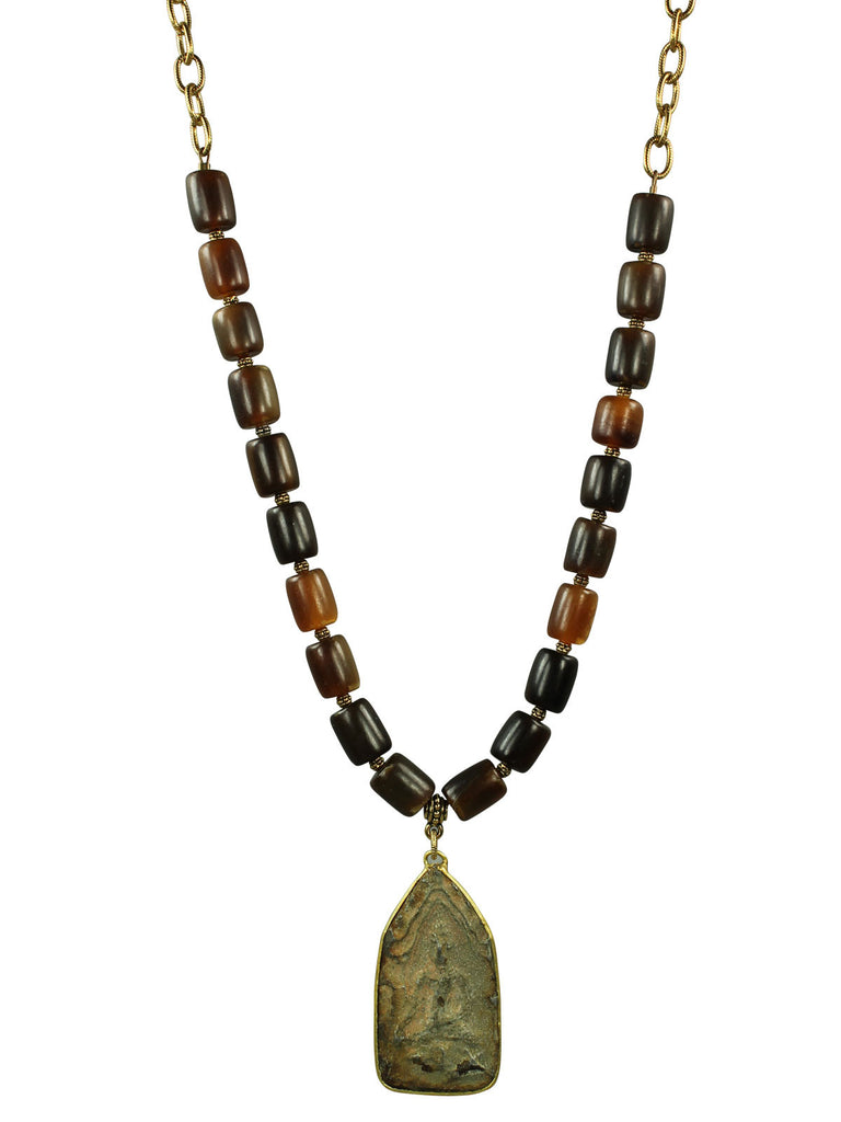 Horn and amulet pendant necklace