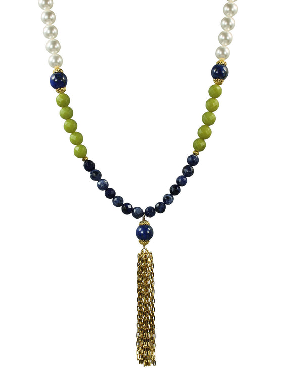Green and blue tassel pendant necklace