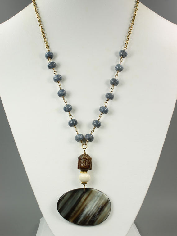 Blue coral and horn pendant necklace
