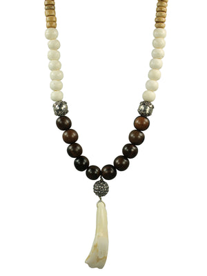 Bone and wood tooth pendant necklace