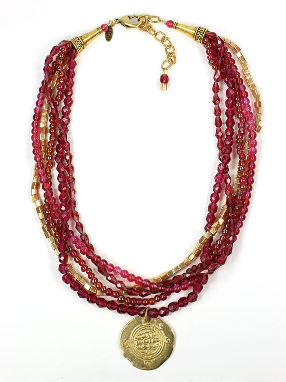 Red crystal gold coin pendant necklace