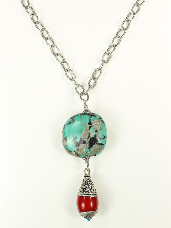 Turquoise and red drop pendant necklace