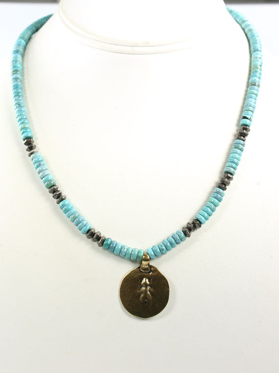Turquoise and bronze coin necklace