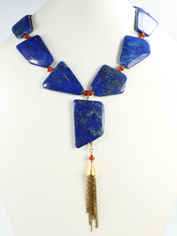 Lapis flat nugget tassel necklace