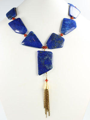 Lapis tassel pendant necklace