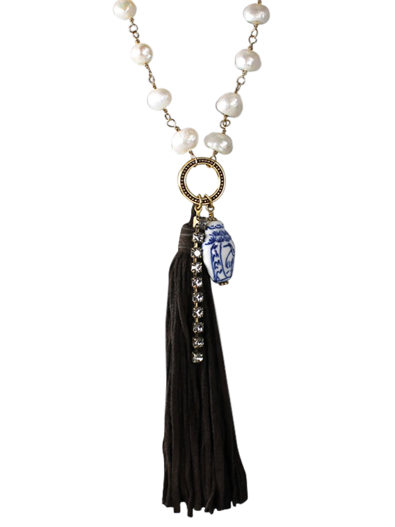 Pearl and deerskin tassel pendant necklace