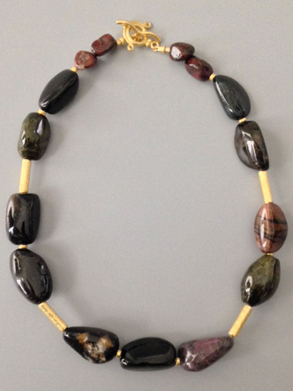 Dark tourmaline with gold accents necklace
