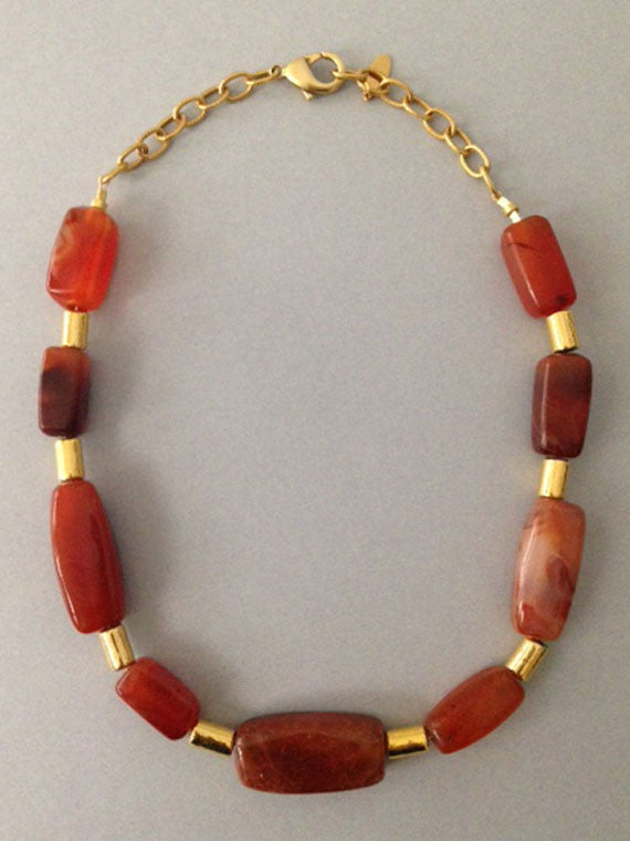 Carnelian block nuggets gold accent necklace