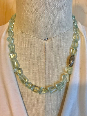 Aquamarine and pave bead necklace