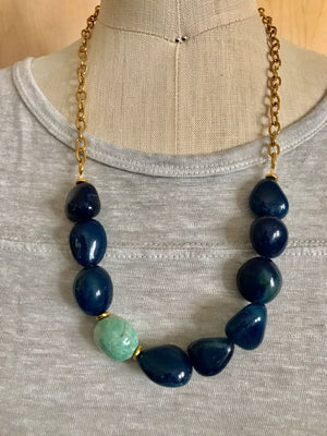 Blue agate and amazonite necklace