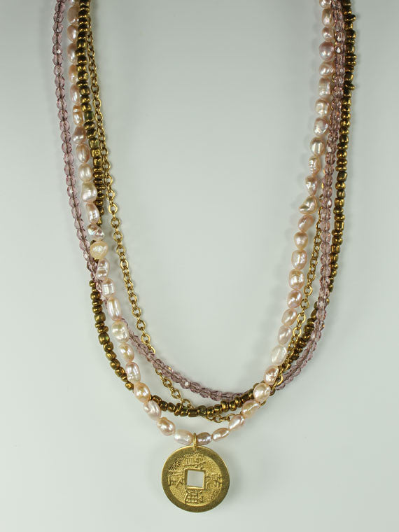 Multistrand with coin pendant necklace
