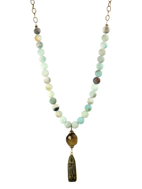 Blue amazonite icon pendant necklace
