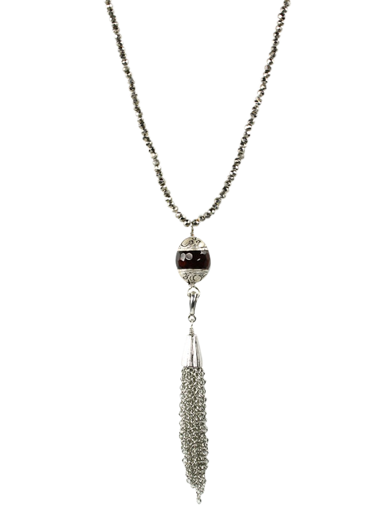 Pyrite and seed beads tassel pendant necklace